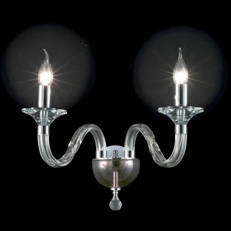 Applique en deux lumières de verre et cristallo Ivy, fabriqué en Italie