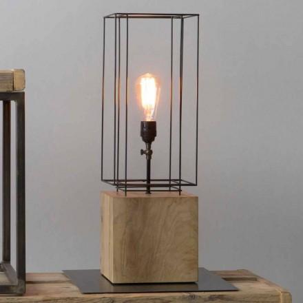 Lampe de table en fer fabriquée à la main avec base en bois Made in Italy - Olivier