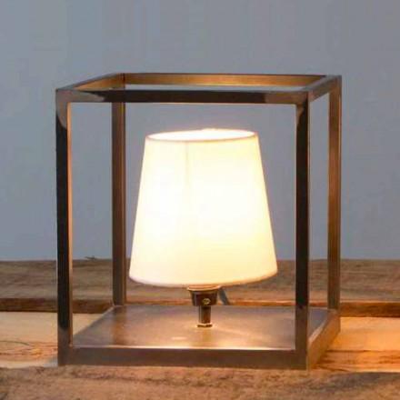 Lampe de table en fer à la main avec abat-jour Made in Italy - Cubola