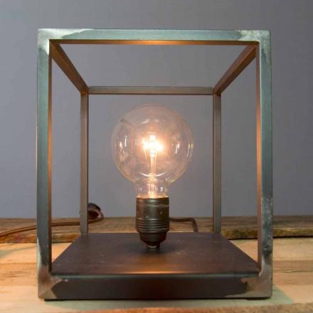 Lampe de table avec structure en fer artisanal Made in Italy - Cubola