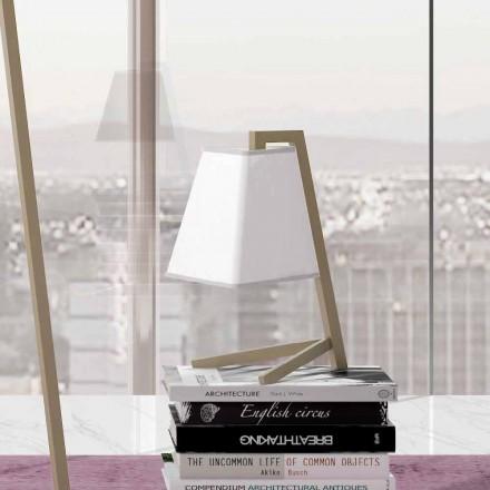 Lampe de table avec structure en métal et tissu Made in Italy - Barton