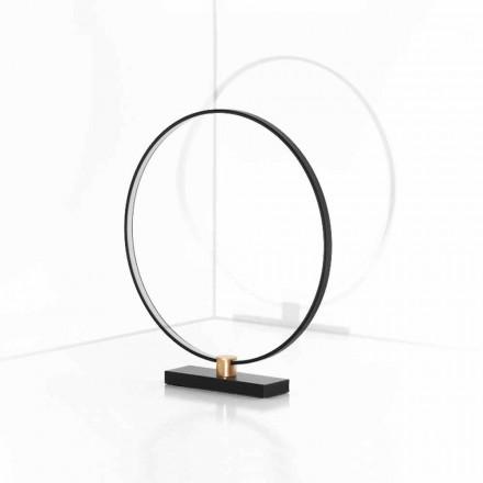 Lampe de table design en aluminium noir et laiton Made in Italy - Norma