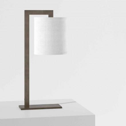 Lampe de table design en métal et lin blanc Made in Italy - Bali