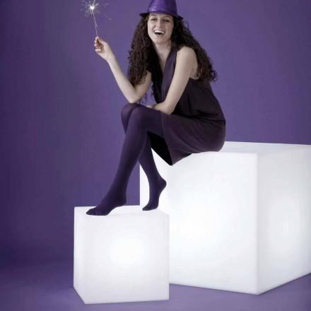 Lampe en forme de coupe et de table blanche Slide Cubo, fabriquée en Italie