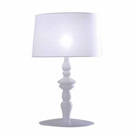 Lampe de table en céramique blanche et abat-jour en lin 2 dimensions - Cadabra