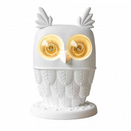 Lampe de Table en Céramique Blanc Mat 2 Lumières Hibou Design Moderne - Chouette