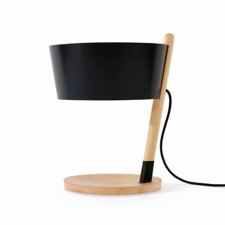 Lampe de table en hêtre avec détails en métal et cuir vegan - Avetta