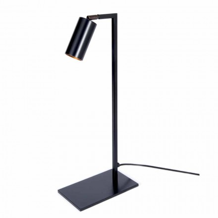 Lampe de table en fer et aluminium noir mat avec LED Made in Italy - Agio