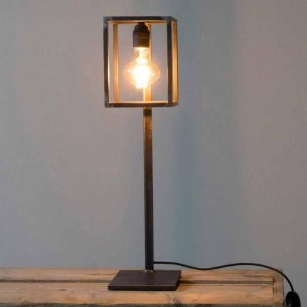 Lampe de table en fer noir avec câble en coton Made in Italy - Unique
