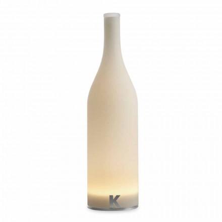 Lampe de Table LED en Verre Givré Blanc Design Moderne - Bouteille