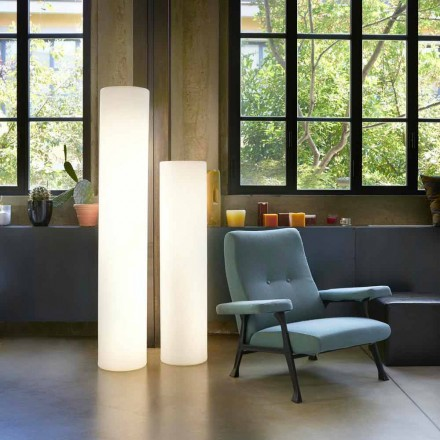 Lampadaire cylindrique brillant Slide Fluo, fabriqué en Italie