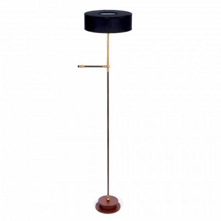 Lampadaire avec abat-jour en lin noir fait à la main Made in Italy - Aurelia