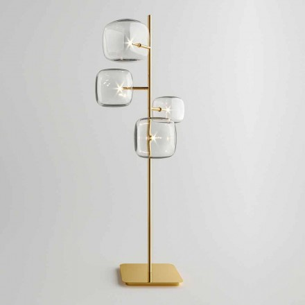 Lampadaire design avec structure en métal brillant Made in Italy - Donatina