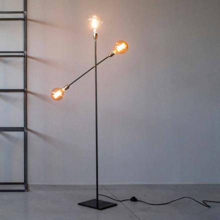 Lampadaire design en fer avec lumières réglables Made in Italy - Melita