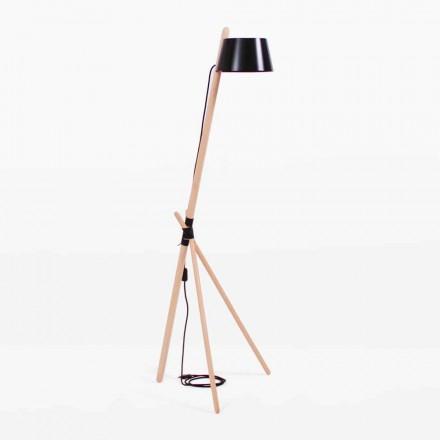 Lampadaire design en bois de hêtre et métal laqué - Avetta