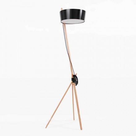 Lampadaire en bois et métal avec détails en cuir vegan - Avetta