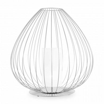 Lampadaire ou support en fil métallique blanc ou bronze - Lanterne