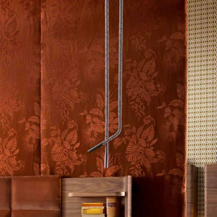 Lampe suspension Grilli Snake en cuir et métal made in Italy