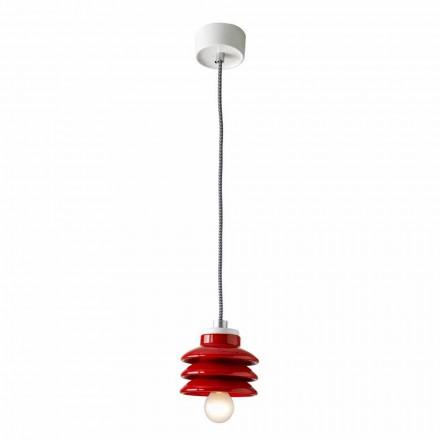 Lampe à suspension design en céramique rouge fabriquée en Italie, Asie