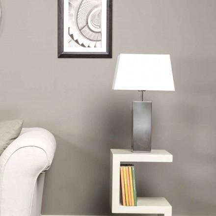 Lampe de table moderne en acier et abat-jour blanche Renna