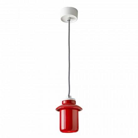 Lampe design suspendue en céramique rouge fabriqué en Italie, Asie