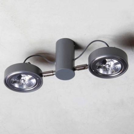 Lampe en aluminium avec 2 lumières réglables fabriquée à la main en Italie - Gemina