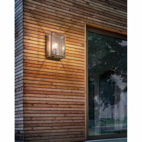 Lampe industrielle en laiton et panneau de verre Il Fanale