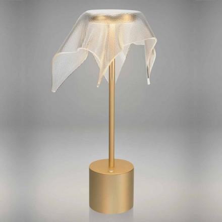 Lampe LED en métal coloré et plexiglas prismatique transparent - Tagalong