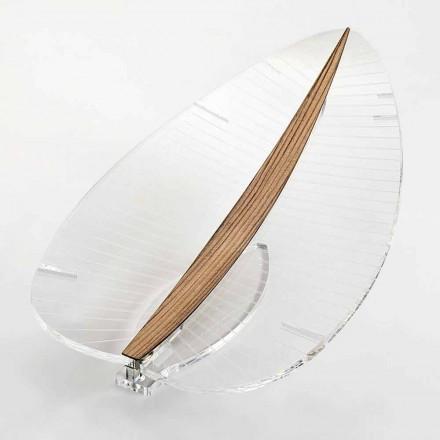 Lampe à Led en Plexiglas Transparent Or Argent ou Bois Design - Foglialamp