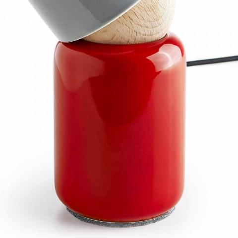 Lampe de table moderne en céramique et bois de hêtre fabriqué en Italie, Asie