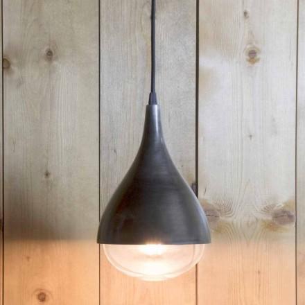 Lampe suspendue fabriquée à la main en aluminium et coton noir Fabriqué en Italie - Sissa