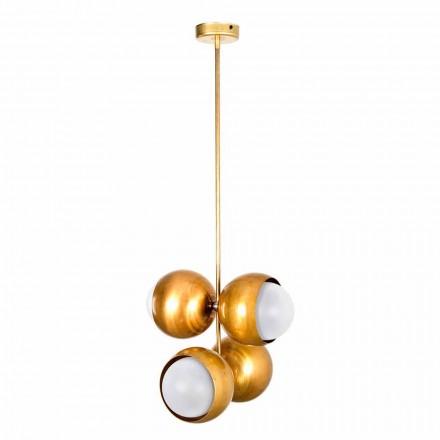 Lampe suspendue artisanale en laiton naturel et verre Made in Italy - Gandia