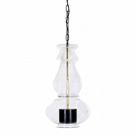 Lampe suspendue artisanale en verre soufflé et laiton Made in Italy - Vitrea