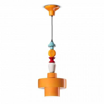 Lampe suspendue en céramique jaune ou verte Made in Italy Design - Ferroluce Lariat