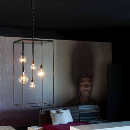 Lampe suspendue avec structure en fer fabriquée à la main Made in Italy - Cosma