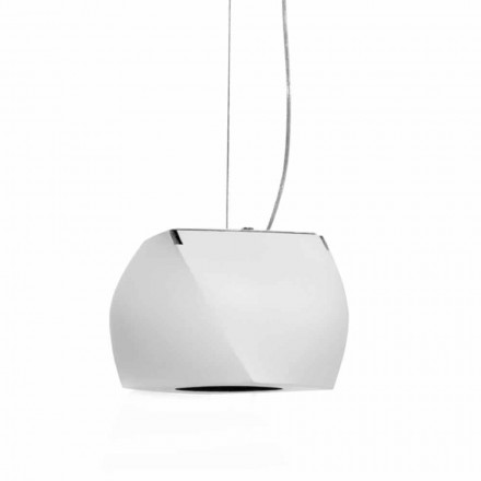 Lampe design suspendue en métal et résine blanche Made in Italy - Pékin