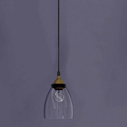 Lampe suspendue design en métal et verre transparent Made in Italy - Clizia