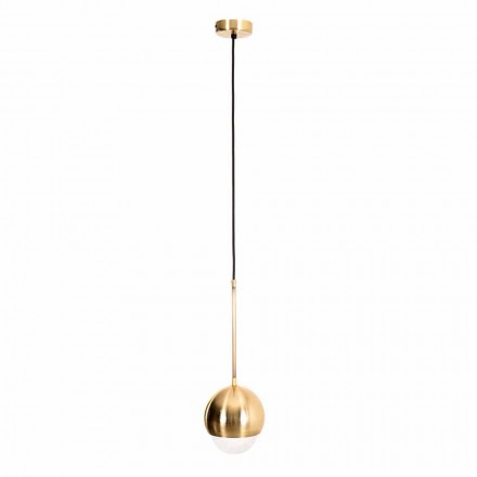 Lampe à suspension artisanale en laiton et verre décoratif Made in Italy - Gandia