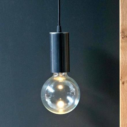 Lampe suspendue en fer et verre avec câble en coton Made in Italy - Ampolla