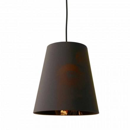 Lampe suspendue en lin anthracite avec impression de design interne 2 tailles - Bramosia