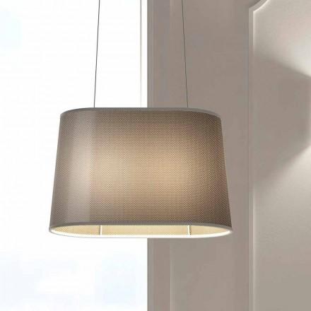 Lampe suspendue en métal avec abat-jour en filet ou en lin Made in Italy - Jump