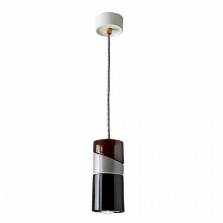 Lampe à suspension en laiton et céramique colorée moderne fabriquée en Italie, en Asie