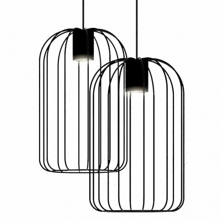 Lampe suspendue moderne avec structure en fil métallique fabriquée en Italie - Cage