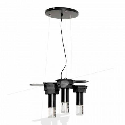 Lampe suspendue moderne en métal noir mat et plexiglas Made in Italy - Dalbo