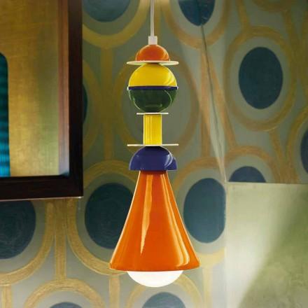Lampe suspendue multicolore moderne Slide Otello Hanging, fabriquée en Italie