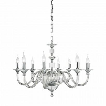 Lustre 8 lumières en verre classique avec décorations en cristal Ivy