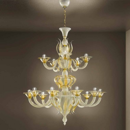 Lustre 15 lumières en verre vénitien blanc et or, fabriqué en Italie - Agustina
