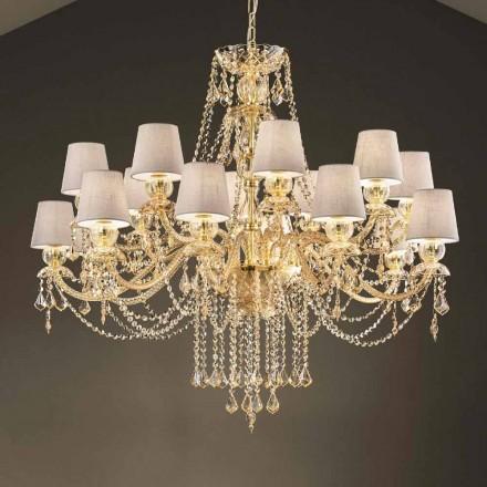 Lustre avec 16 lumières fait à la main en verre de Venise, fabriqué en Italie - Milagros
