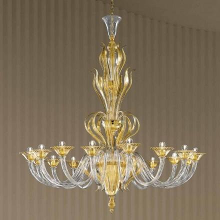 Lustre en verre vénitien fait main à 16 lumières, fabriqué en Italie - Agustina