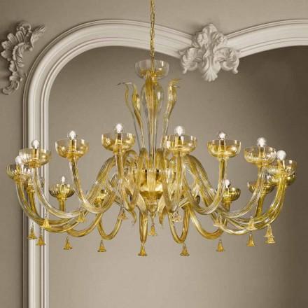 Lustre 16 lumières en verre vénitien et or, fait à la main en Italie - Regina